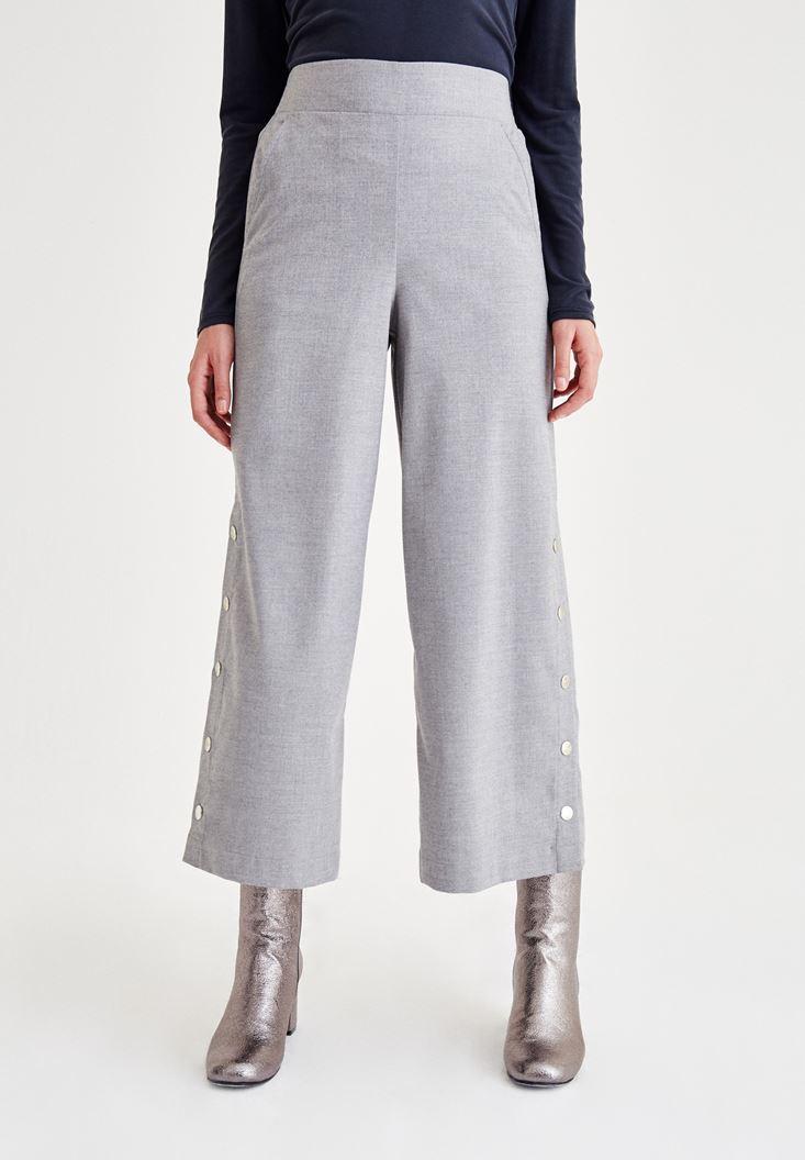 Gri Paça Detaylı Pantolon
