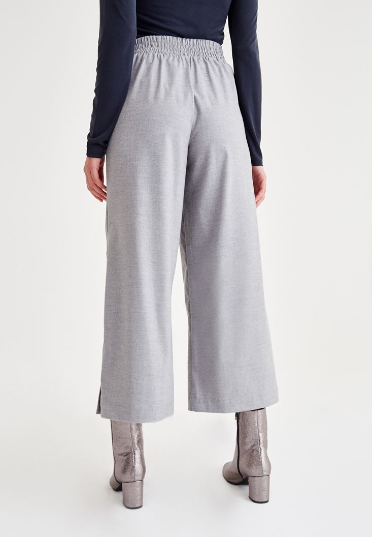 Bayan Gri Paça Detaylı Pantolon