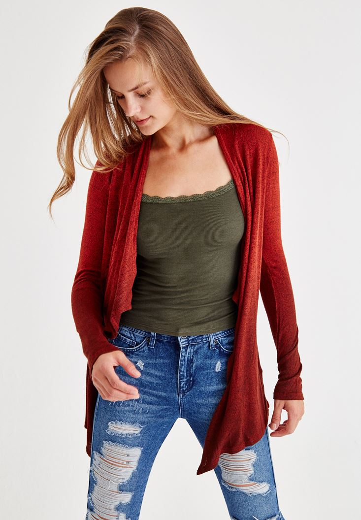 Red Long Sleeve Cardigan