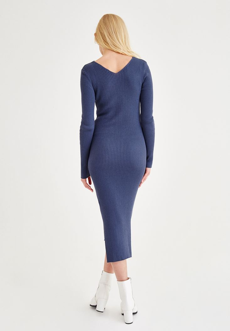 Bayan Mavi V Yaka Yırtmaç Detaylı Uzun Elbise