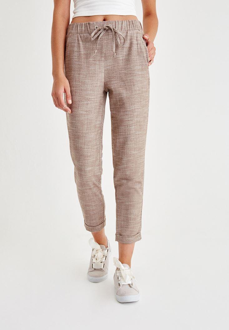 Kahverengi Beli Bağlama Detaylı Pantolon