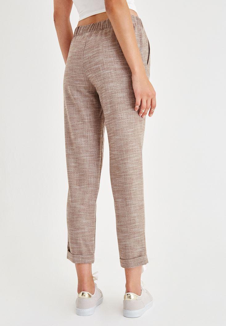 Bayan Kahverengi Beli Bağlama Detaylı Pantolon