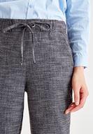 Bayan Gri Beli Bağlama Detaylı Pantolon