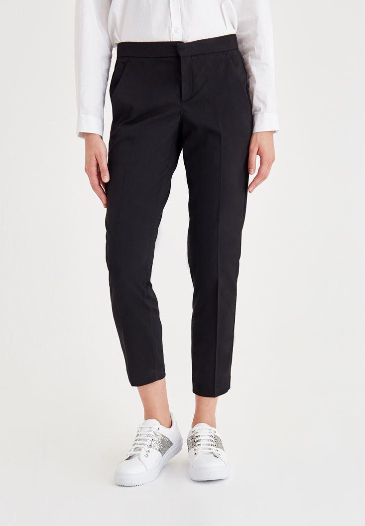 Siyah Normal Bel Kumaş Pantolon