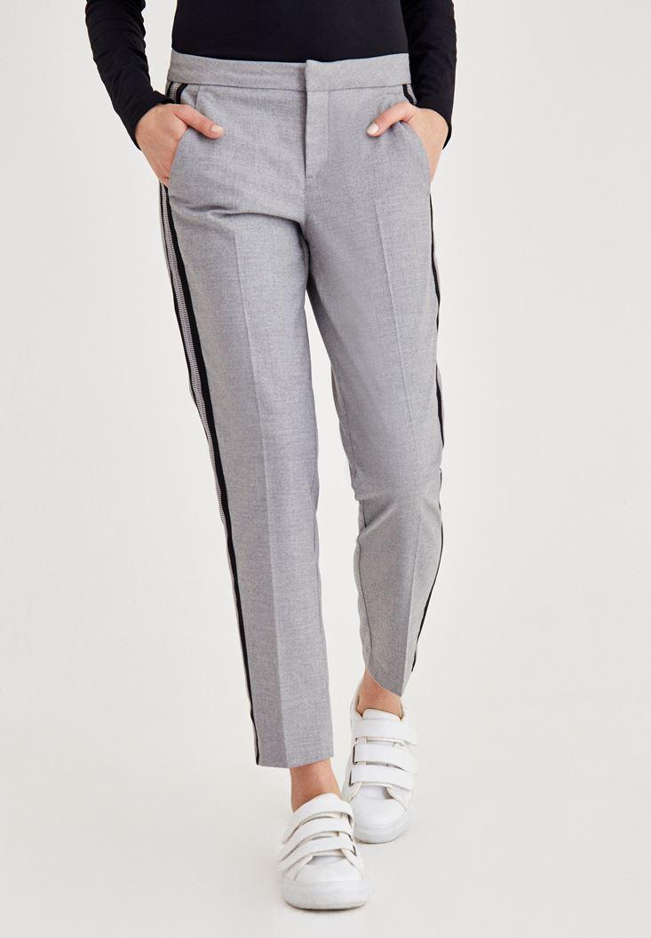 Gri Normal Bel Kumaş Pantolon