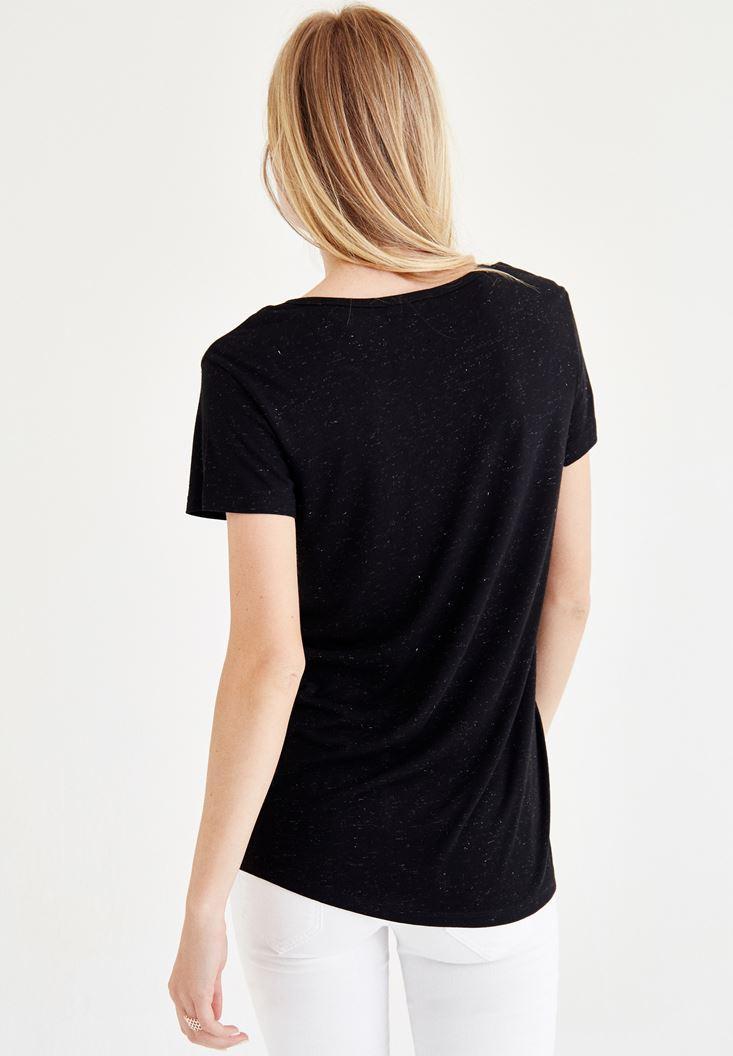 Bayan Siyah Biye Detaylı Simli Tişört
