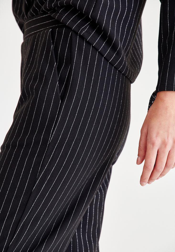 Bayan Siyah Çizgi Detaylı Pantolon