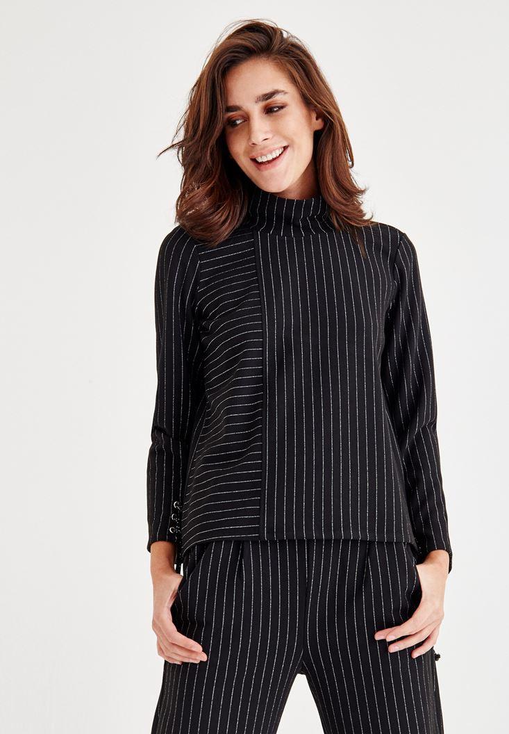 Siyah Kol Detaylı Çizgili Bluz