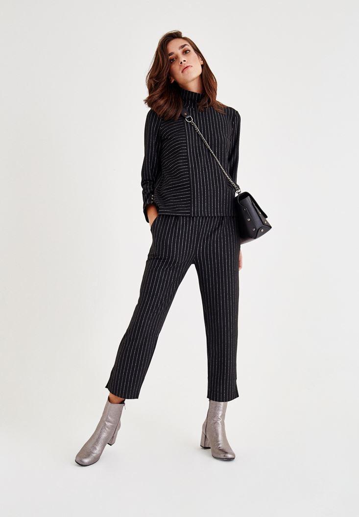 Bayan Siyah Kol Detaylı Çizgili Bluz