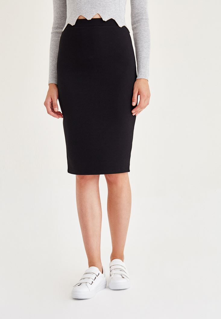 Black Pencil Skirt With Back Detail