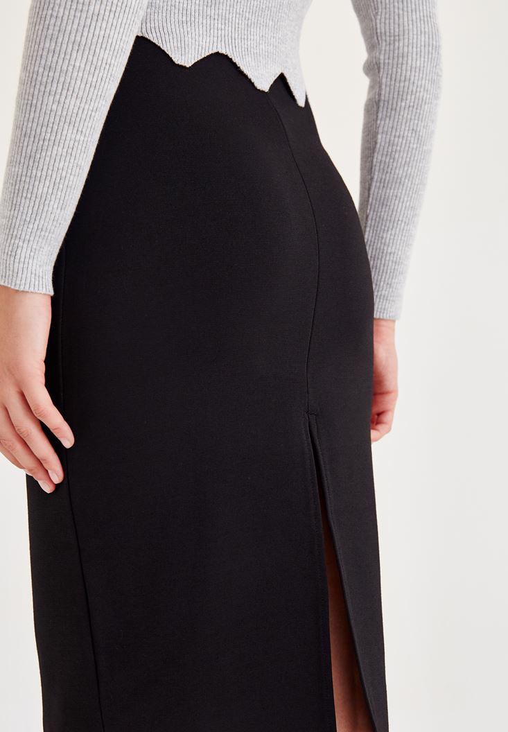Women Black Pencil Skirt With Back Detail