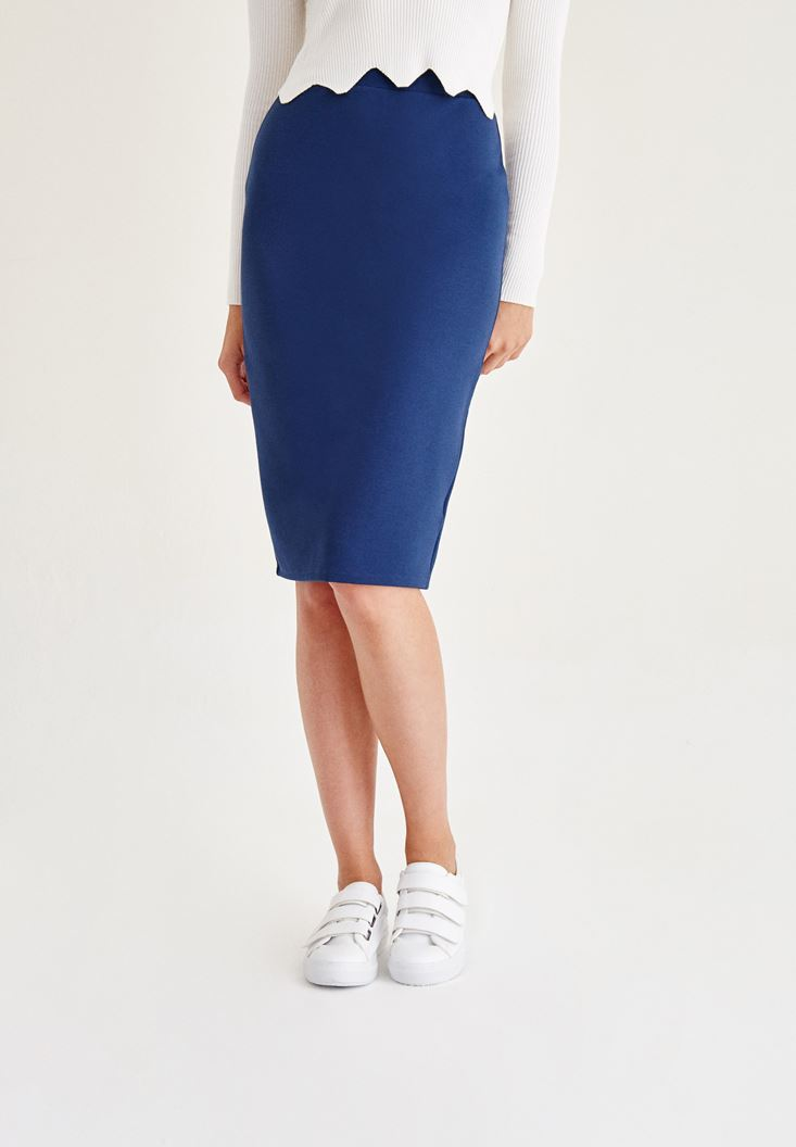 Blue Pencil Skirt With Back Detail