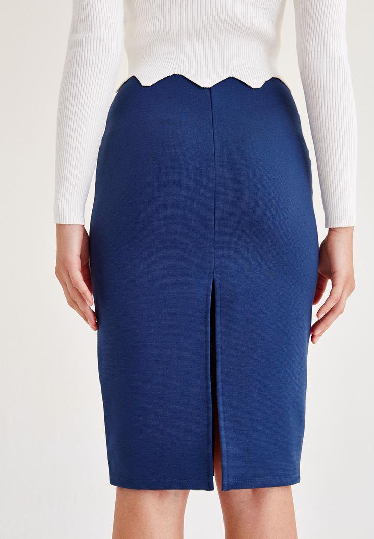 Women Blue Pencil Skirt With Back Detail