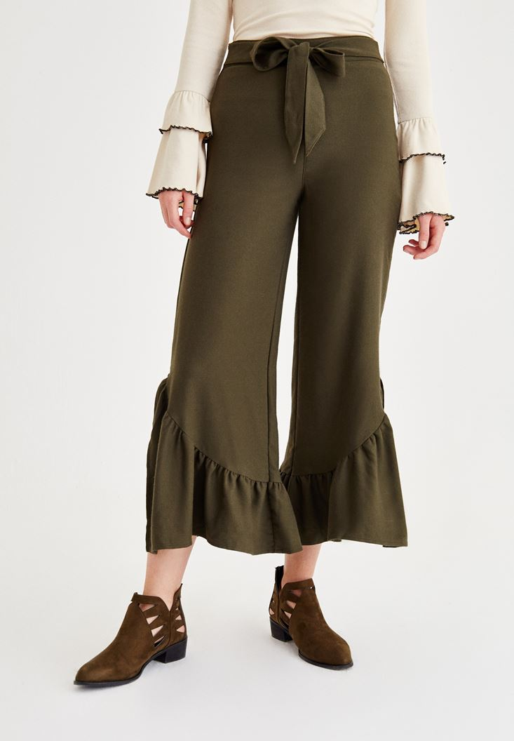 Green Pants With Pleated Detail