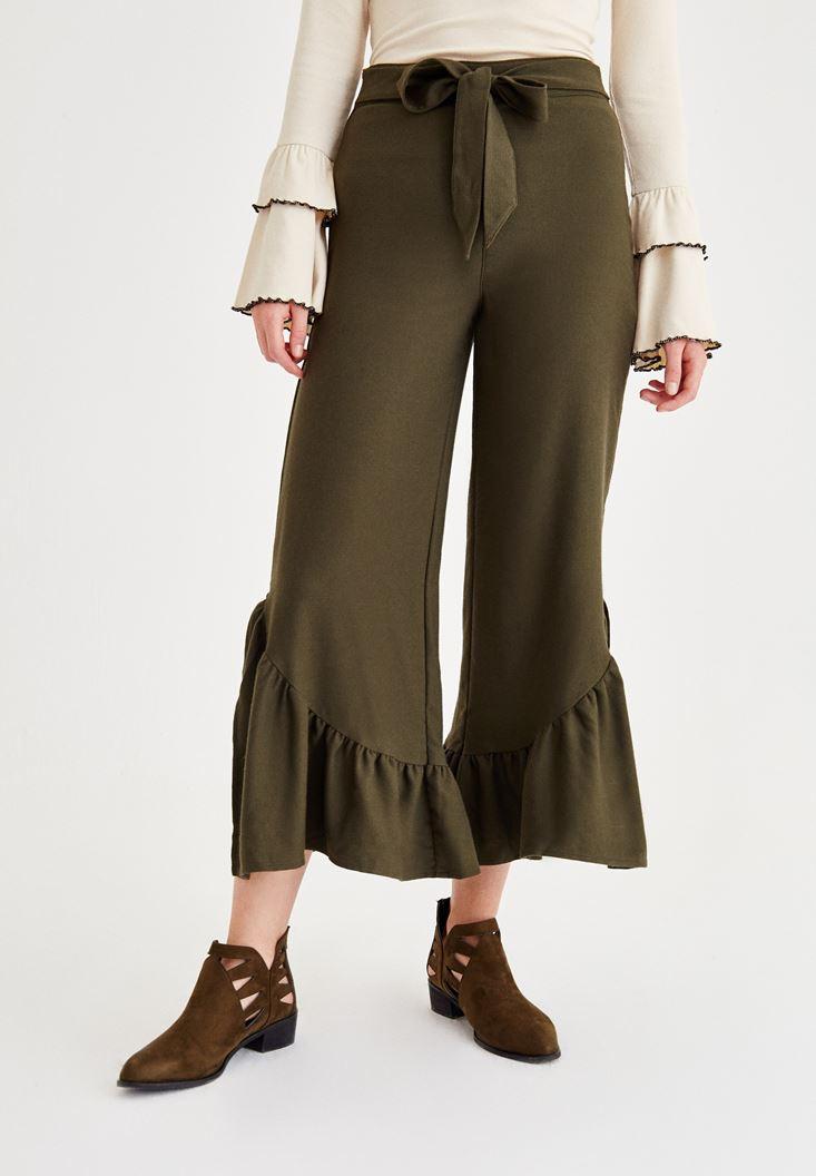 Yeşil Paçası Pili Detaylı Pantolon