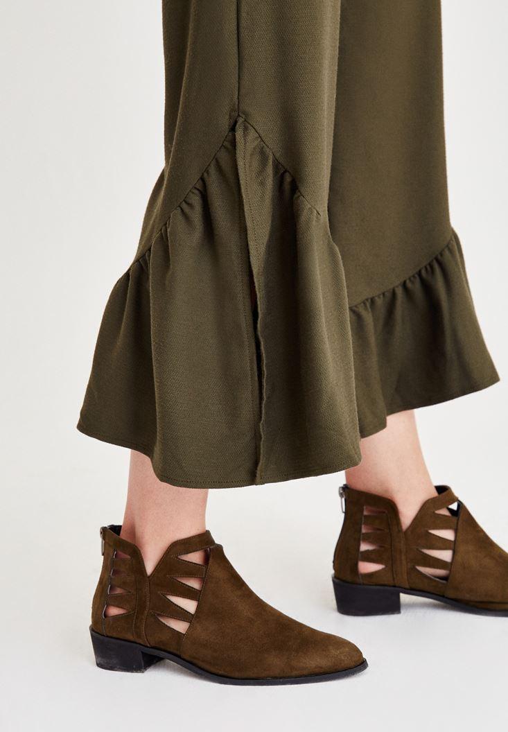 Bayan Yeşil Paçası Pili Detaylı Pantolon