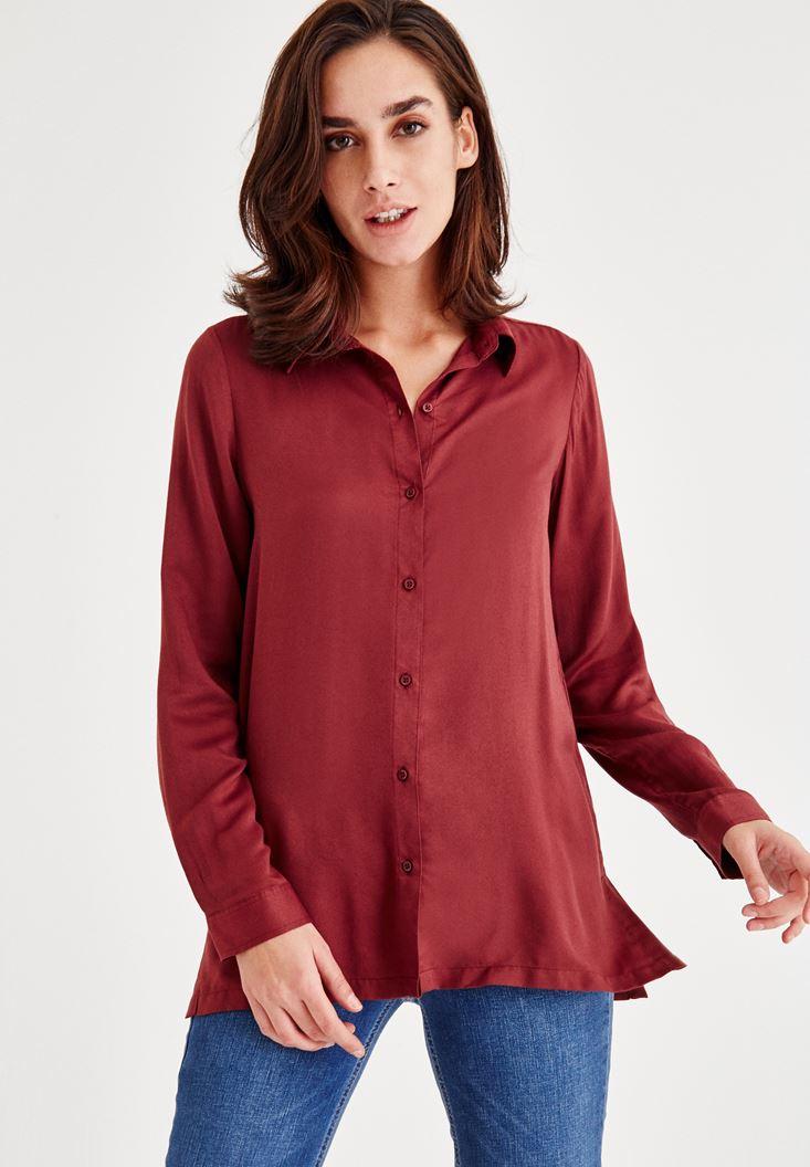 Bordo Yırtmaç Detaylı Gömlek