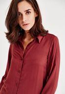 Bayan Bordo Yırtmaç Detaylı Gömlek