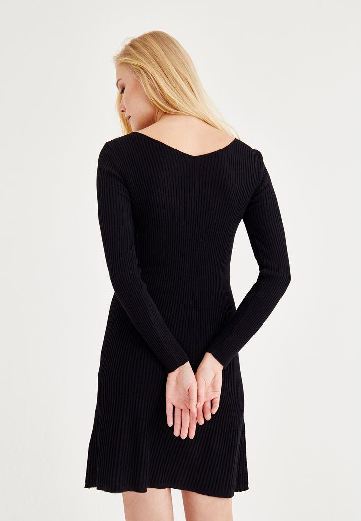 Bayan Siyah Bağlama Detaylı Triko Elbise
