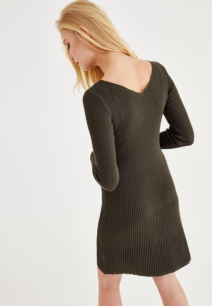 Bayan Yeşil Bağlama Detaylı Triko Elbise
