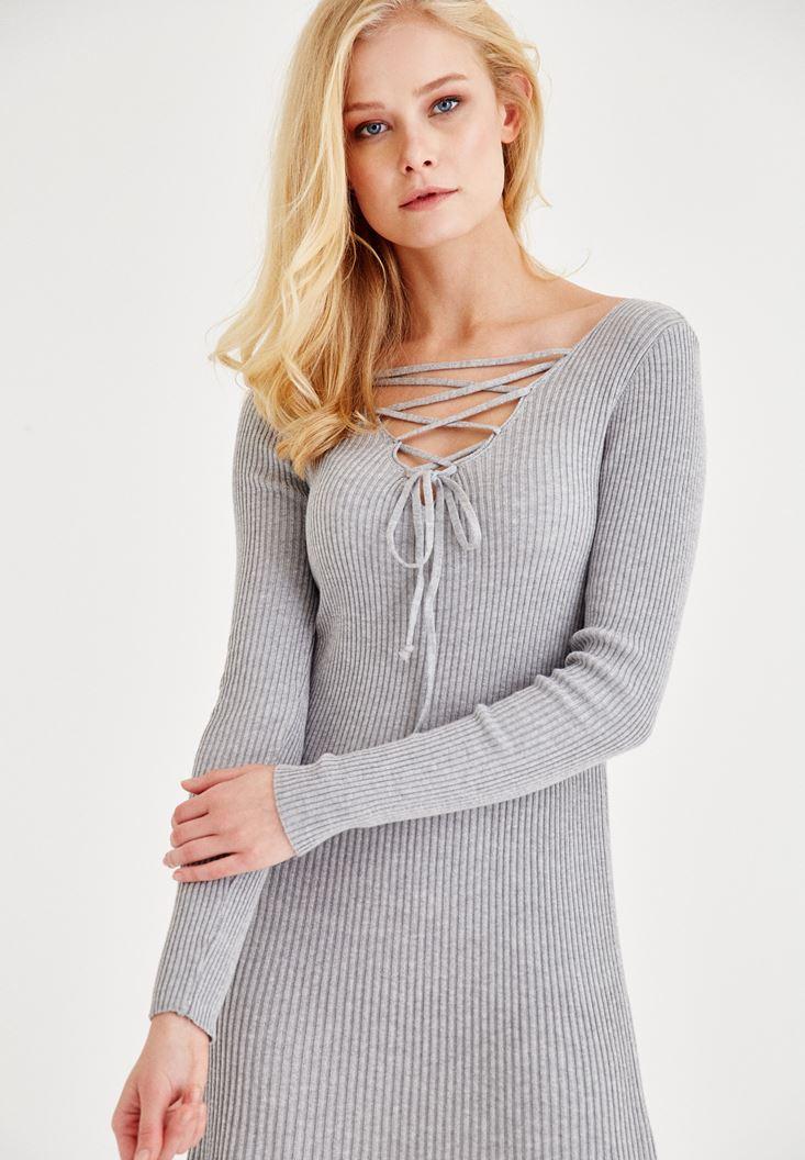 Bayan Gri Bağlama Detaylı Triko Elbise