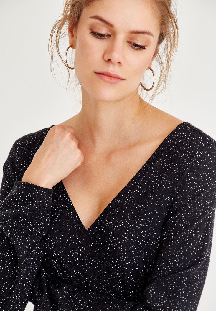 Bayan Siyah V Yaka Sırt Detaylı Elbise