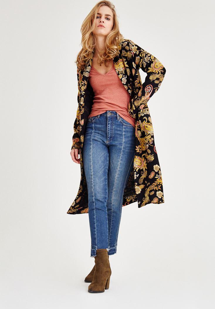 Çok Renkli Şal Desenli Uzun Ceket