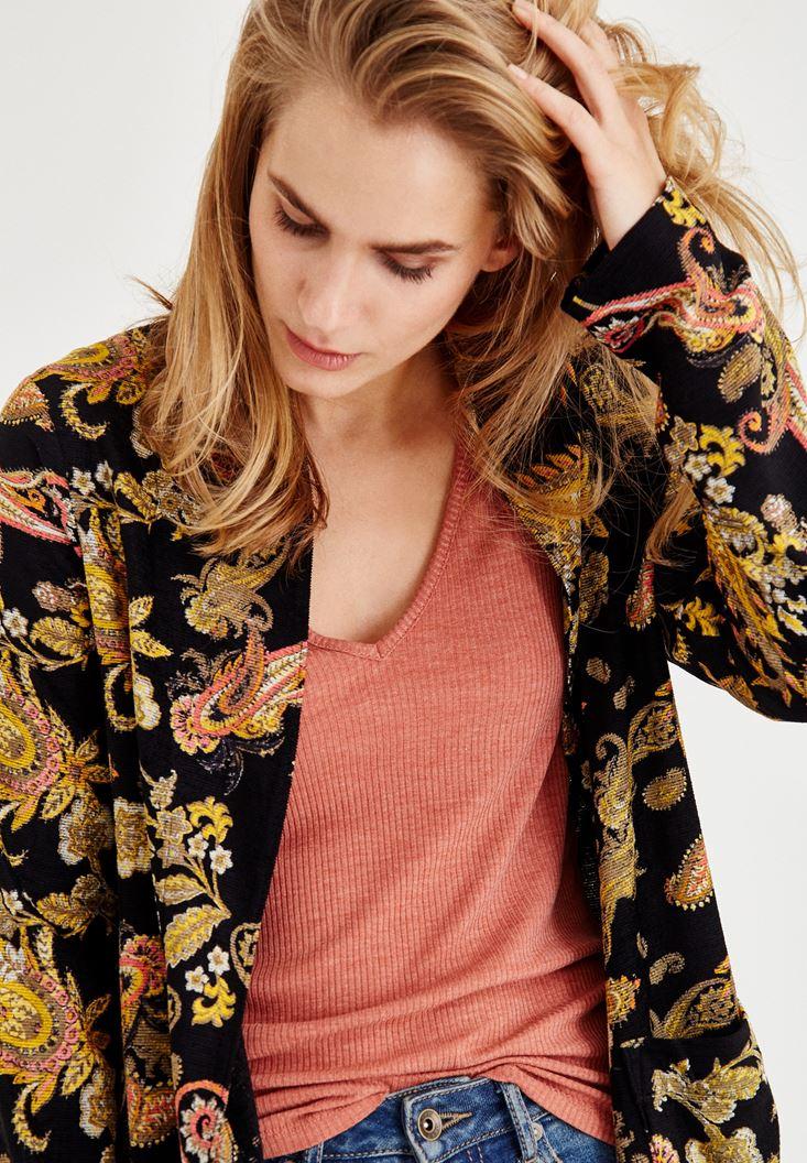 Bayan Çok Renkli Şal Desenli Uzun Ceket
