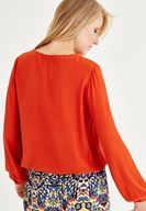 Bayan Kırmızı İp Detaylı Uzun Kollu Bluz