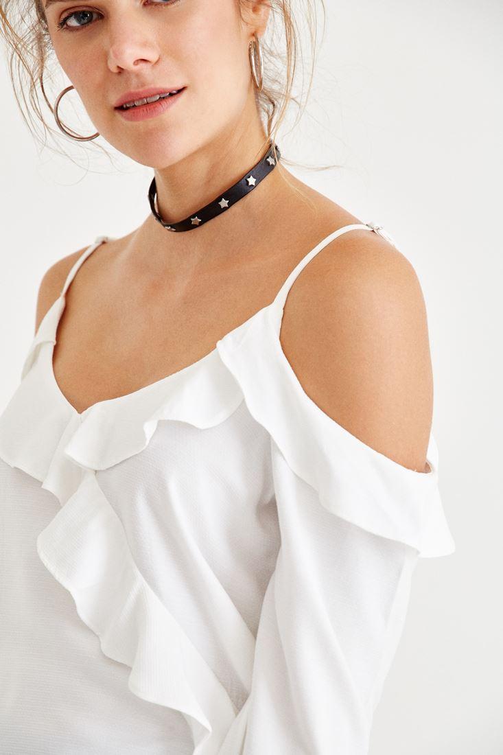 Bayan Krem Omuzları Açık Fırfır Detaylı Bluz