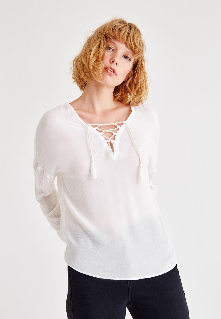 Bayan Krem Biye Detaylı Uzun Kollu Bluz