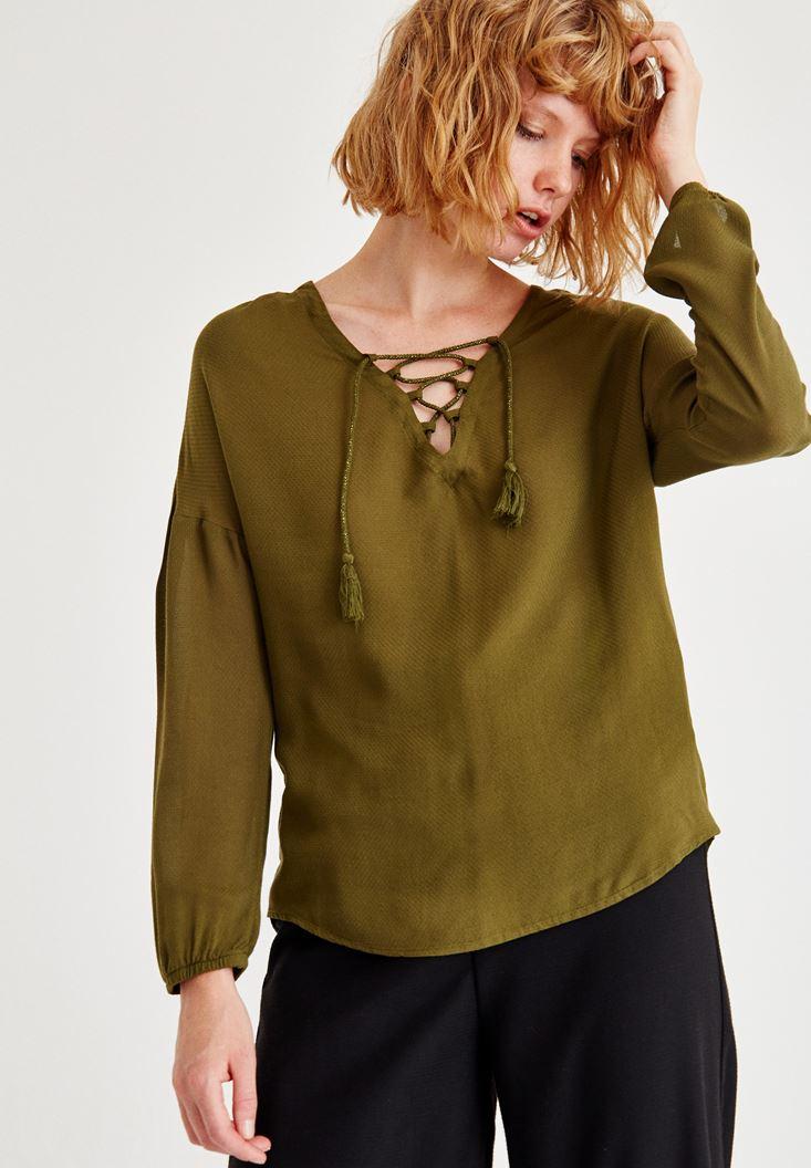 Bayan Yeşil Biye Detaylı Uzun Kollu Bluz