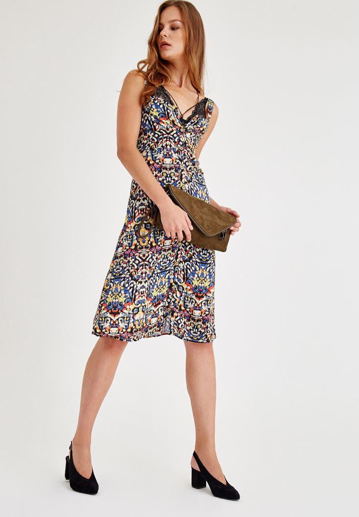 Çok Renkli Düğme Detaylı  Elbise