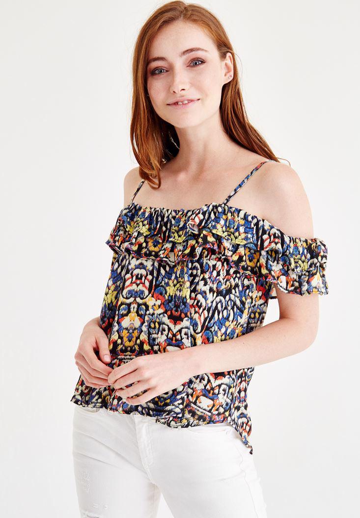 Bayan Çok Renkli Askılı Düşük Omuzlu Bluz