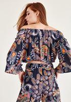 Bayan Çok Renkli Çiçek Baskılı Bluz