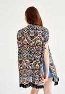 Bayan Çok Renkli Püsküllü Kısa Kollu Kimono