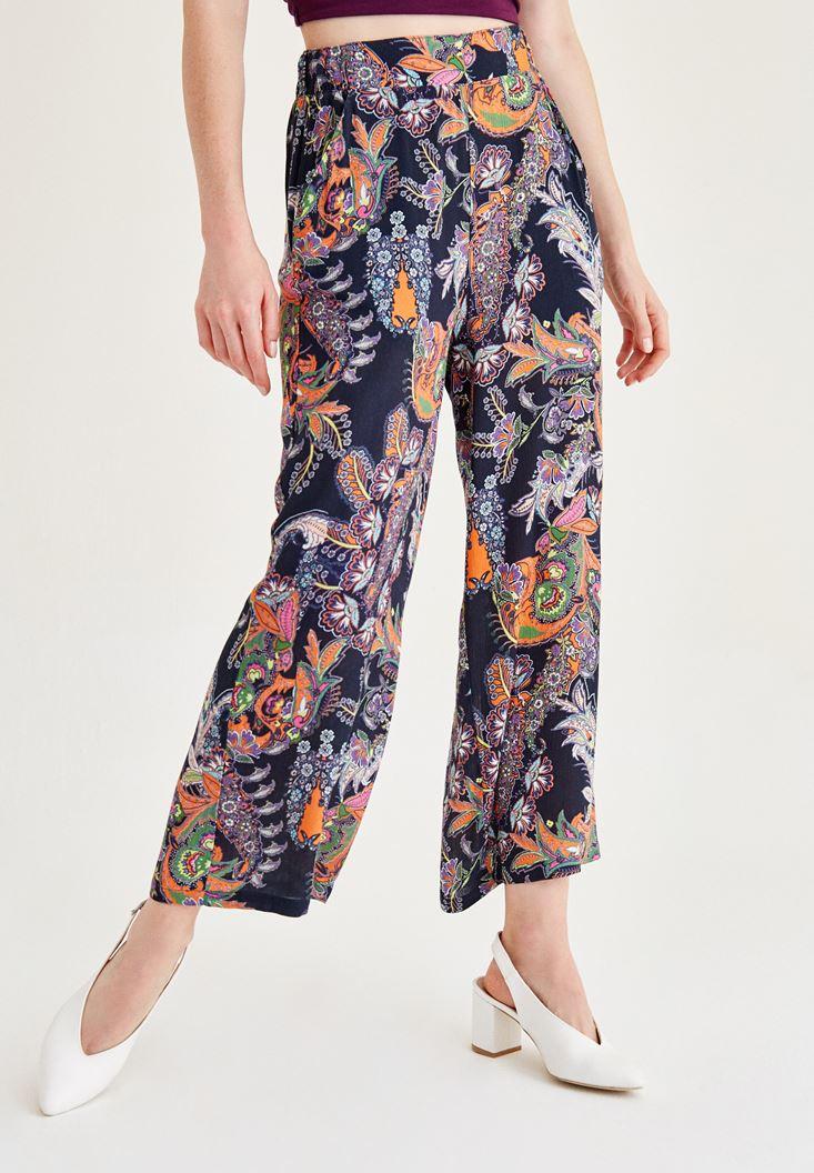 Çok Renkli Baskılı Bol Pantolon