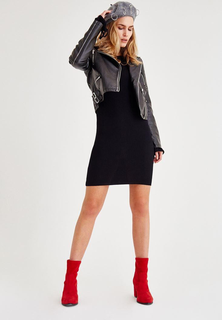 Siyah Omuz Dekolteli Uzun Kollu Kısa Elbise