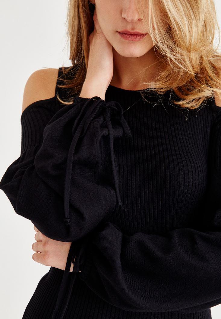 Bayan Siyah Omuz Dekolteli Uzun Kollu Kısa Elbise