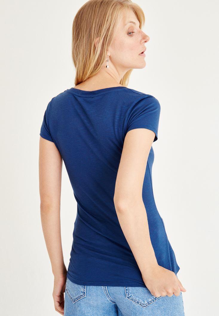 Bayan Mavi V Yaka Yarım Kollu Tişört
