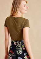 Bayan Yeşil V Yaka Yarım Kollu Tişört