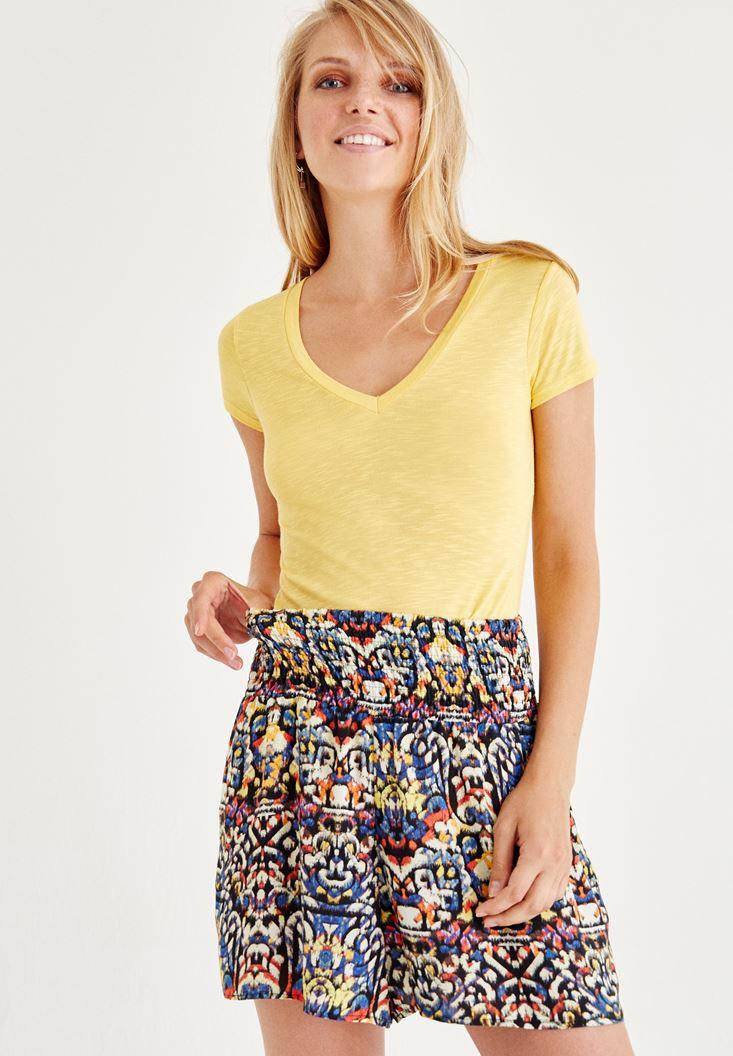Sarı V Yaka Yarım Kollu Tişört