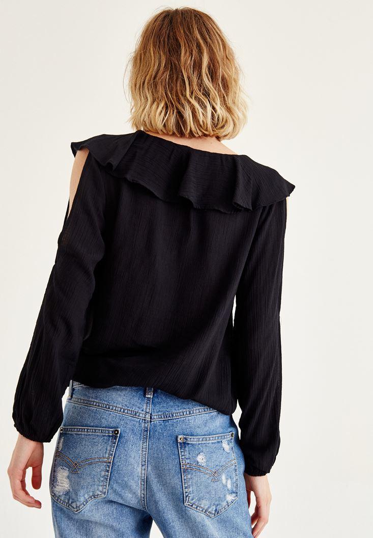 Bayan Siyah Kol Detaylı Önü Fırfırlı Bluz