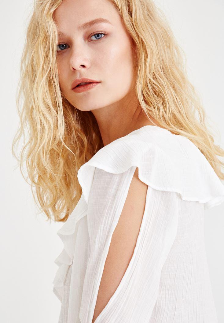 Bayan Krem Kol Detaylı Önü Fırfırlı Bluz