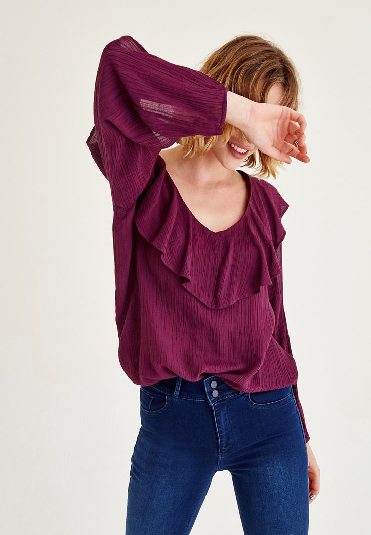 Bayan Bordo Kol Detaylı Önü Fırfırlı Bluz