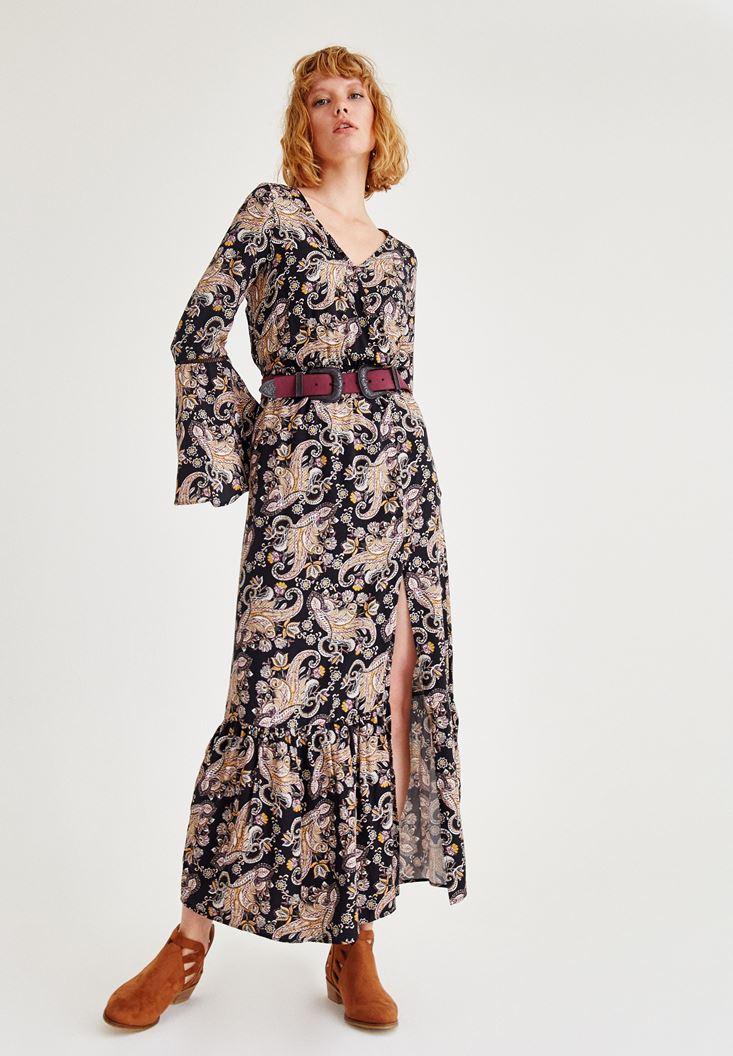 Desenli Yırtmaç Detaylı Elbise OXXO