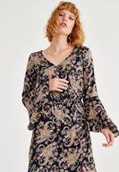 Bayan Çok Renkli Desenli Yırtmaç Detaylı Elbise