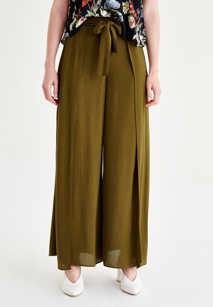 Yeşil Yırtmaç Detaylı Pantolon