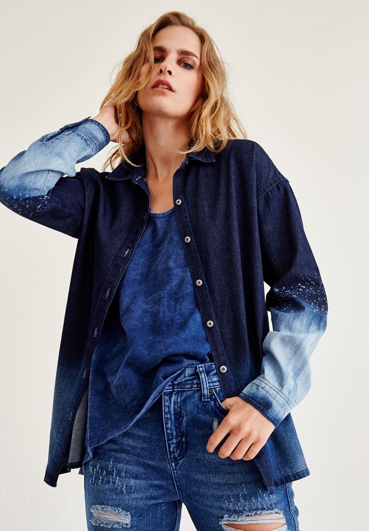 Mavi Renk Geçişli Denim Gömlek