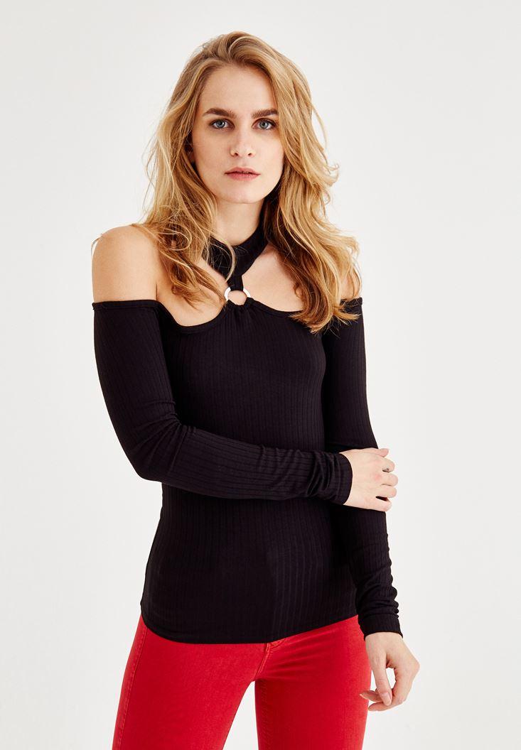 Black Blouse with Ring and Shoulder Detail